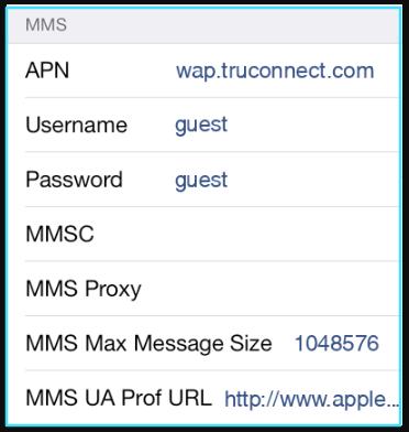 TruConnect apn settings iPhone mms