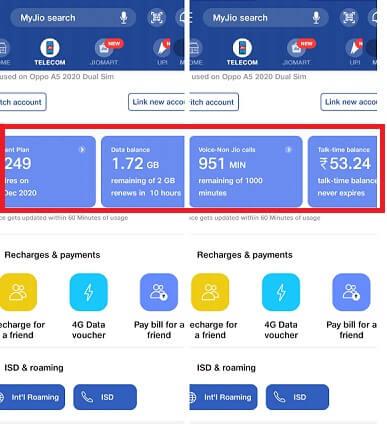 Jio 4G Data Balance Check
